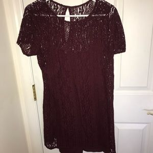 Abercrombie & Fitch Maroon Lace Short Sleeve Dress